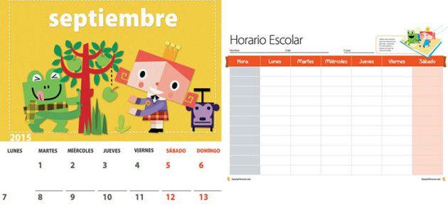 Descárgate el calendario y el horario escolar 2015-16 de Sapos y Princesas #manualidades #vueltaalcole #printable #backtoschool