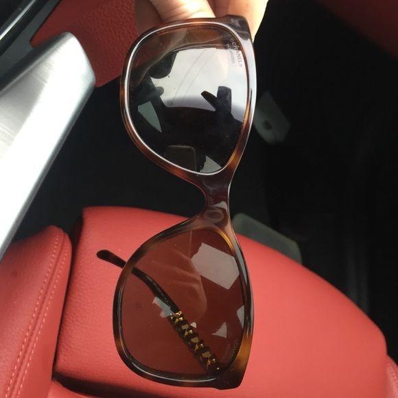 Chanel sunglasses Chanel sunglasses w brown woven trim comes w chanel sunglass case no scratches CHANEL Accessories Sunglasses