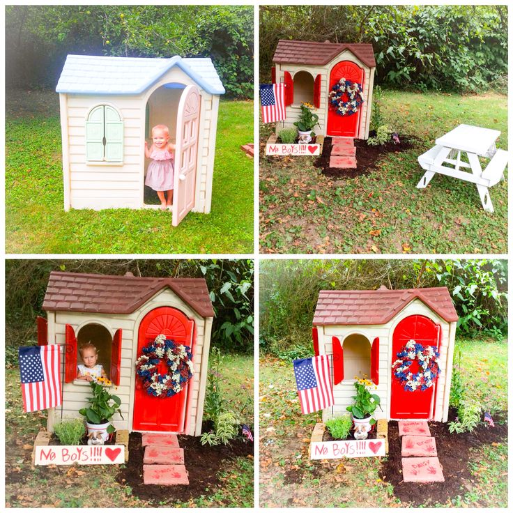 Little Tikes Playhouse up cycle   $30 for house $30 Krylon Plastic spray paint $5 walkway blocks $4 wood for sign $20 flowers & lots of random stuff I had already in my basement.   Perfect for my little Princess. Diy
