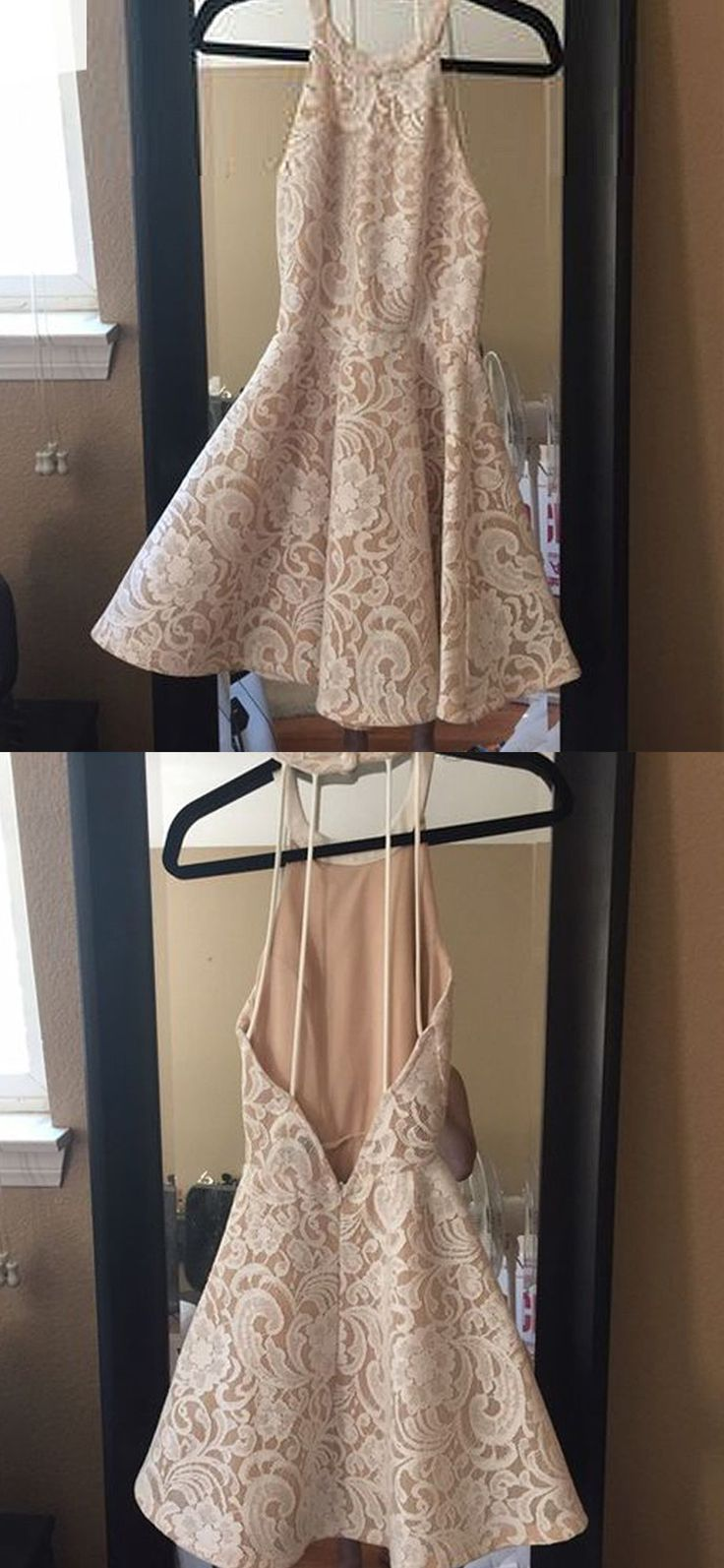 A-Line Jewel Backless Short Champagne Lace Homecoming Dress