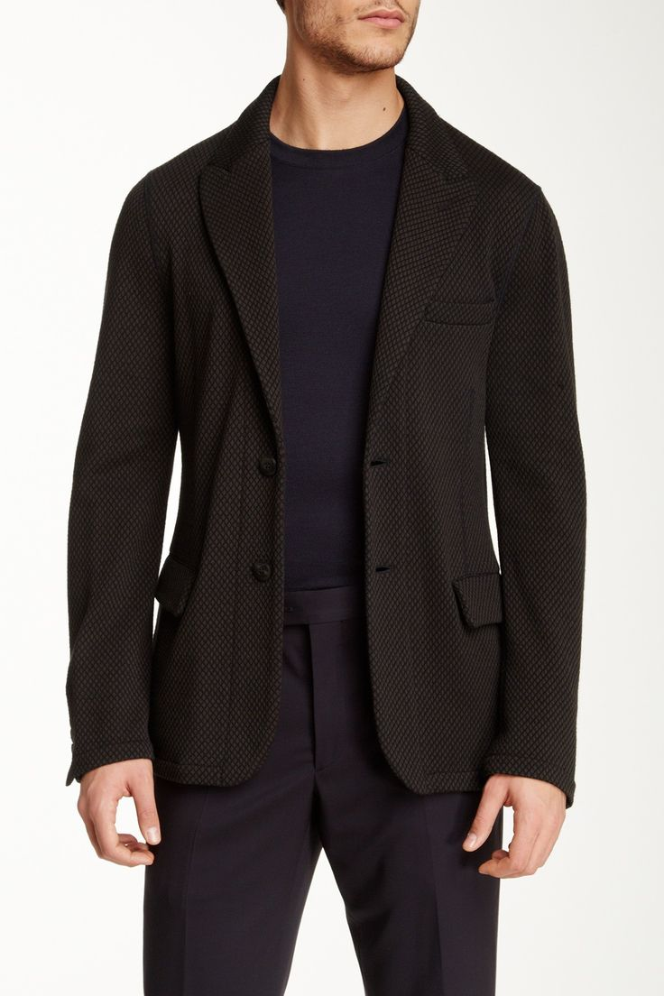 Black Birdseye Two Button Peak Lapel Wool Blend Blazer by Giorgio Armani Uomo on @HauteLook