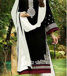 Buy Black embroidered cotton semi stitched salwar with dupatta pakistani-salwar-kameez online