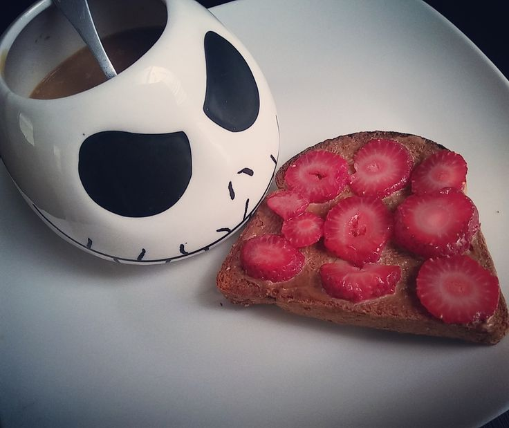 Vanilla caramel coffee and milk with toast topped with chocolate PB2 and sliced strawberries. 138 calories #goodnutrition #physicalactivity #goodfood #vegetables #JuicePlus #healthymeal #healthyfood #healthy #health #exercise #eatclean