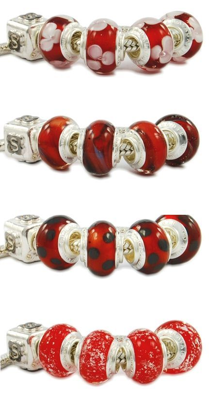 Uncommon Pandora glass beads with red tonality. Murano glass beads made in Italy. Colorful, bright, imaginative, customizable. Italian jewelry wholesale hand made in Venice. Assembled with a single piece of 925 sterling silver core. That is, the glass beads are equipped with a monolithic piece of silver, and not with two cheap eyelets sticked with glue like most Chinese low-quality beads.
