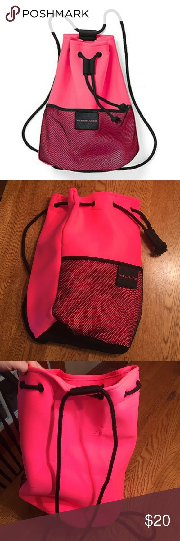 "Victoria's Secret neoprene drawstring backpack bag Brand new! Tags removed but never used. Cute sporty pink neoprene backpack with front mesh pocket and black drawstring cord. Perfect size for gym clothes beach essentials. 17"" x 9"" x 9"" Victoria's Secret Bags Totes"
