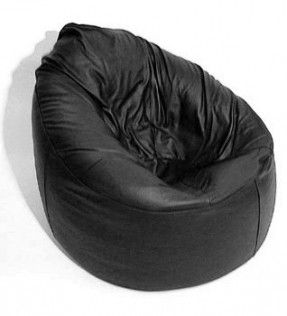 Real Leather Chair Bean Bag - Black