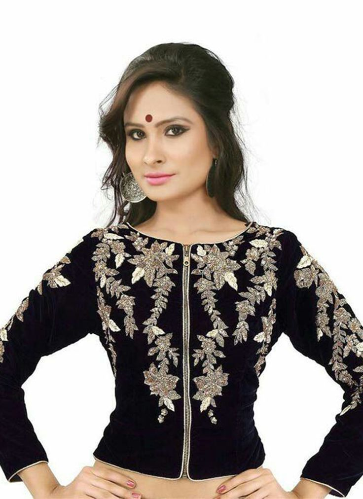 Black Velvet Blouse Wholesale Collection With Embroidered Work