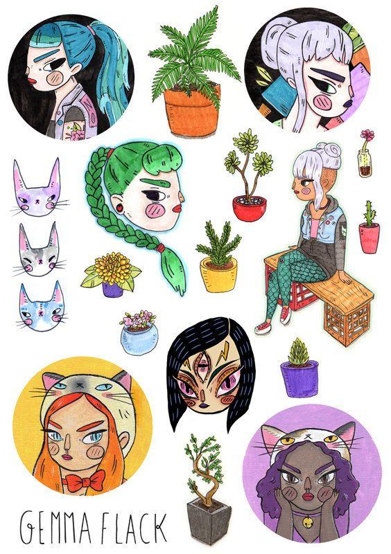Plants & babes - sticker sheet