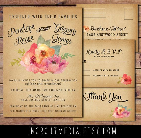 Vintage Watercolor Wedding Invitations Vintage by starboardpress