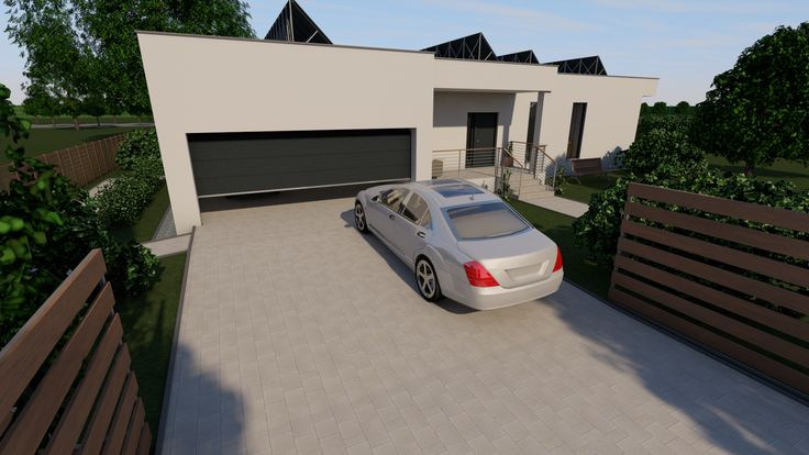 Modern, 5 szobás, 229 m2-es földszintes családi ház mintaterve, alaprajzzal Gépkocsi beálló. A garázs kívülről egybe van építve a házzal. De ez nem azt jelenti, hogy egy termikus burkon belül lennének. Termikusan szét vannak választva.