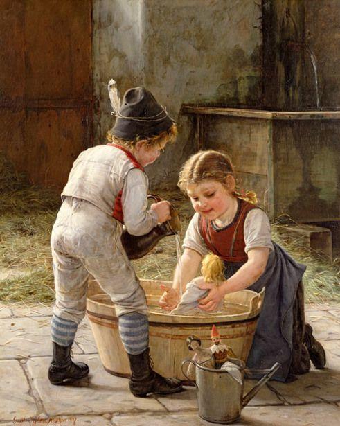 The Doll's Parents - Bathing Her Dolls-Gustav Igler (1842 – 1908, German)