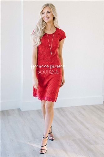 cd578792119 Beautiful Red Lace Modest Dress Bridesmaids Dress