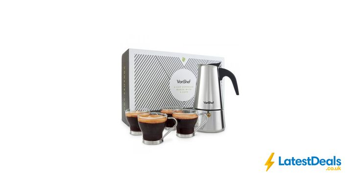 VonShef 6 Cup Espresso Maker with 4 Cups, £17.99 at Domu
