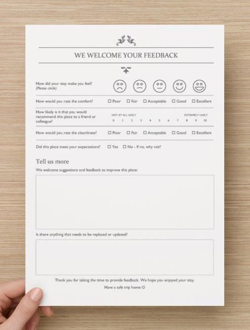 Printable feedback form | My new business's | Airbnb rentals, Airbnb