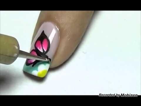 Uñas decoradas con flor y mariposa - YouTube