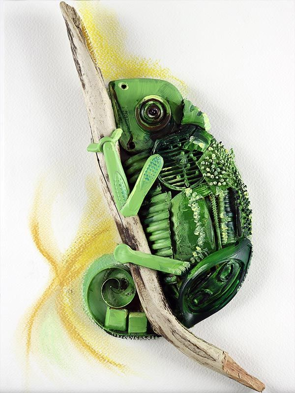 Chameleon Made Of Recycled Materials And Found Objects