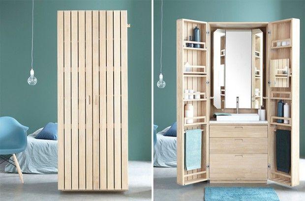 La Cabine est une salle de bain compacte en chêne massif fruit d'une collaboration entre la marque La Fonction et le spécialiste français du mobilier de salle de bain en bois massif Line Art.