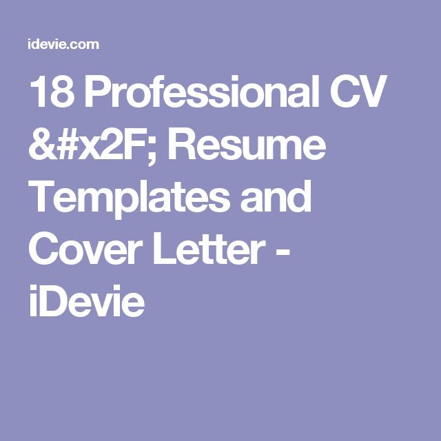 25 best Cv template images on Pinterest | Curriculum, Resume and ...