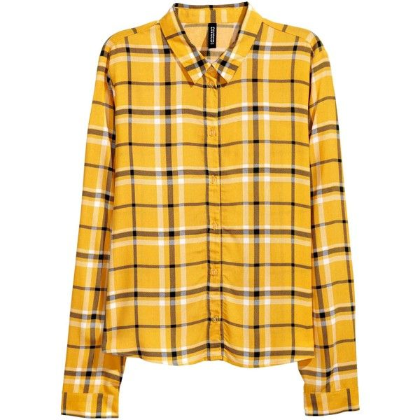 Patterned viscose shirt ($66) ❤ liked on Polyvore featuring tops, collar top, yellow top, patterned collared shirts, yellow collared shirt and long sleeve tops