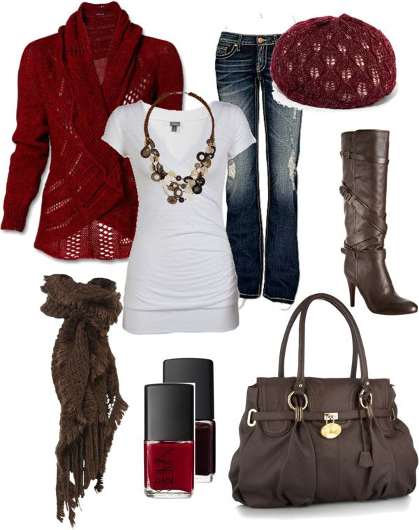 """Red and Brown"" Outfit.: Red, Style, Dream Closet, Clothes, Fall Outfits, Winter Outfit, Fall Fashion, Fall Winter"