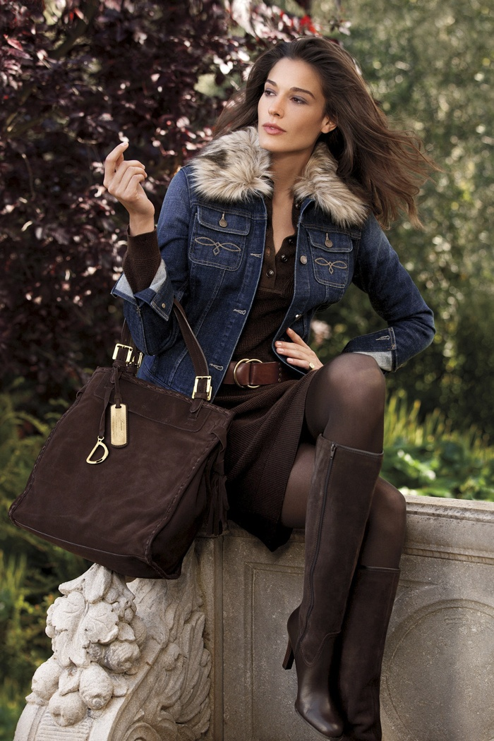 Lauren Ralph Lauren Fall 2012 ~~ I need a fur collared denim jacket~