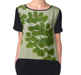 Women's Chiffon Top.  #fern #maidenhair fern #fernart  #fernfrond #fernleaves #fernmacro #macro #sandrafoster