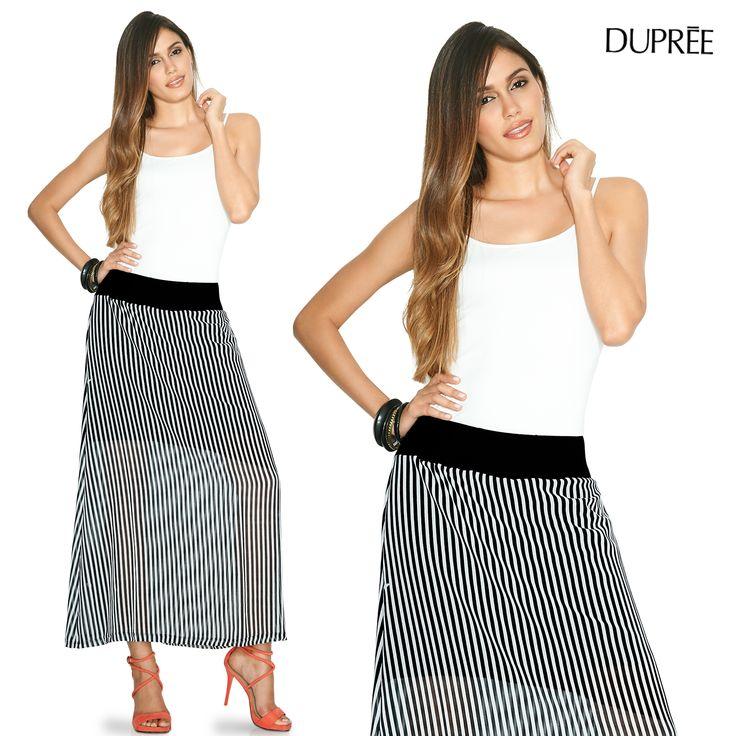 Las faldas largas estilizan figura. Moda femenina DUPREE