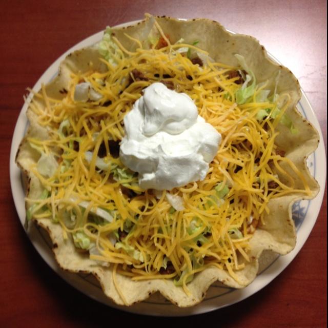 Taco Bowl- this is a mix between a taco, burrito, and taco salad ...