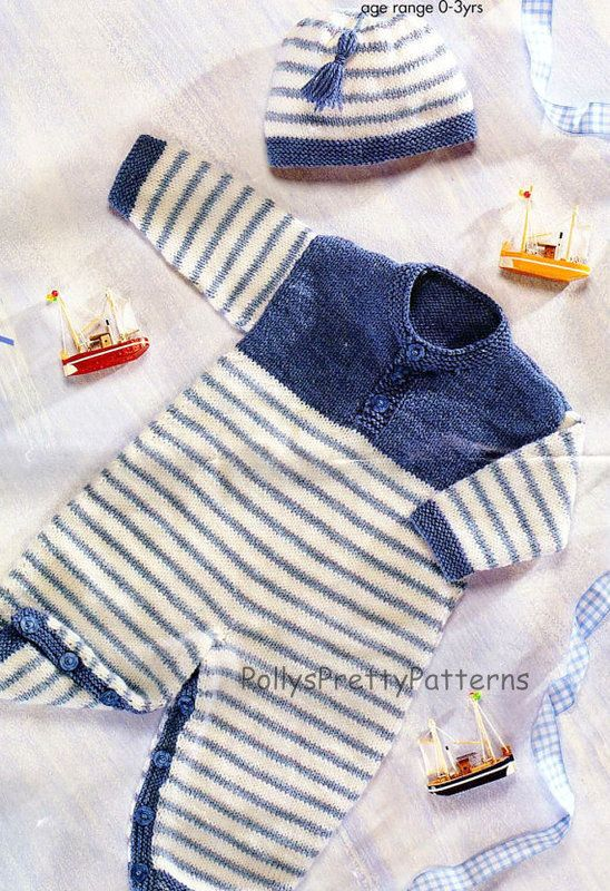 PDF Knitting Pattern for a Baby's/Childs Play Suit & Hat in DK Wool - Instant Download