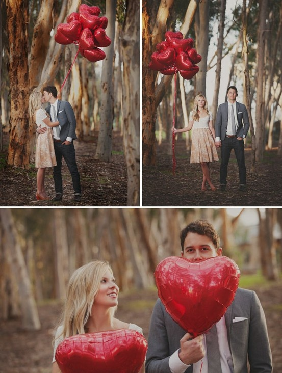 engagement photos with heart balloons - Google Search