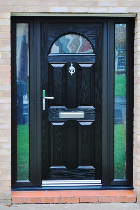 Stunning Bannockburn, Black Composite Door, With Chrome Fixtures and Fittings, complete with Black Foiled High Quality Rehau UPVC Profile Framework  #composite #door #bannockburn #chrome #black #homeimprovements #interiordesign #exteriordesign #renovation