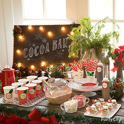 For those cold winter days, a hot chocolate bar will lift everyone's spirits! Create a rustic chic look with woodsy decor, DIY light-up sign and updated cocoa with candy mix-ins!