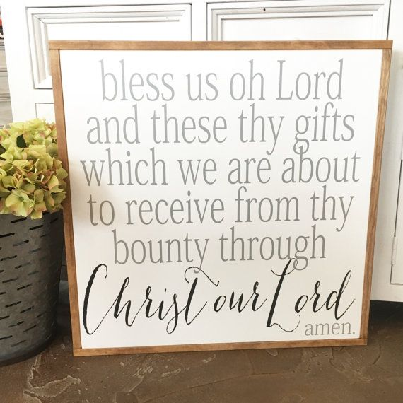 Bless Us Oh Lord  Wood Sign | Fixer Upper Sign | Joanna Gaines Style | Catholice Prayer | Dinner Prayer | Dinning Room Sign | Kitchen Decor | Farmhouse | 25 x 25 by BunkhouseandBroadway