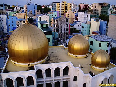 Islamic Centre. Male's best-known architectural landmark, just south of Jumhooree Maidhaan. The complex contains the largest mosque in the Maldives, topped with a golden dome and capable of accommodating 5,000 people.