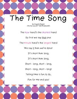 """Freebie! These original lyrics, sung to """"Old McDonald"""", will help your students learn how to tell time. Enjoy!"""