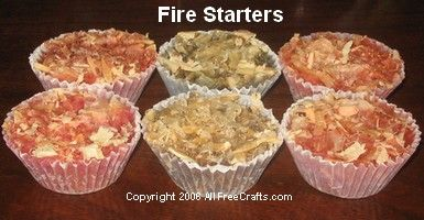 Homemade wax fire starters are easy to make using cupcake papers, recycled wax from old candles, and wood shavings.