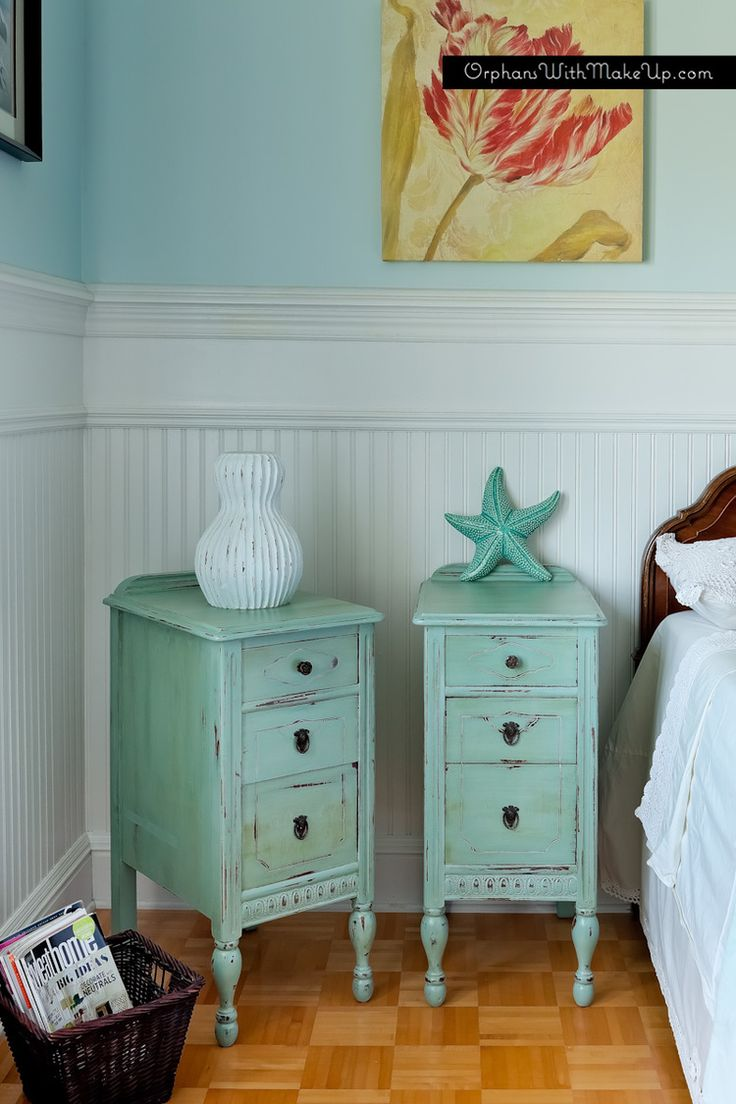 ANTIQUE NIGHT TABLES — Orphans With MakeUp  ASCP Duck Egg Blue