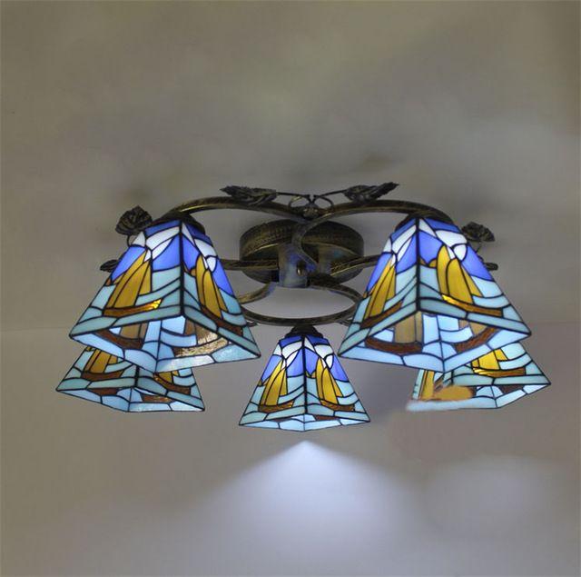 Синий Формы Тиффани Потолочный Светильник Европейский Винтаж Стеклянный Потолок Свет Художественный Творческий Столовая Лампа Светильник Abajur