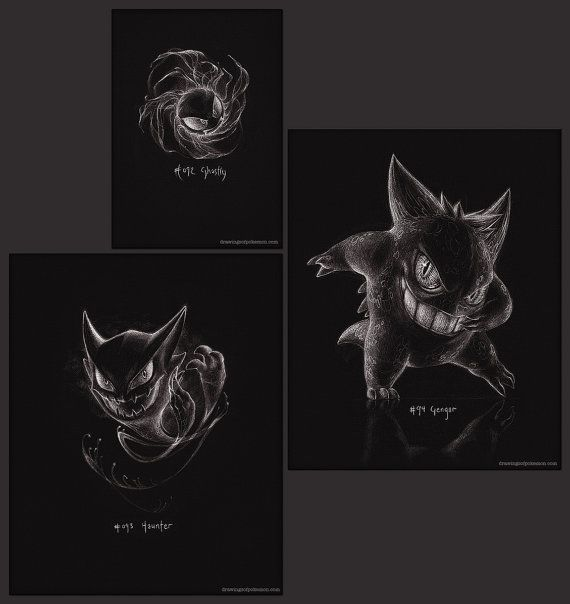 Pokémon Ghost trio - set of three prints - Gastly, Haunter and Gengar (pokemon drawing, art, artwork, gaming, nintendo)