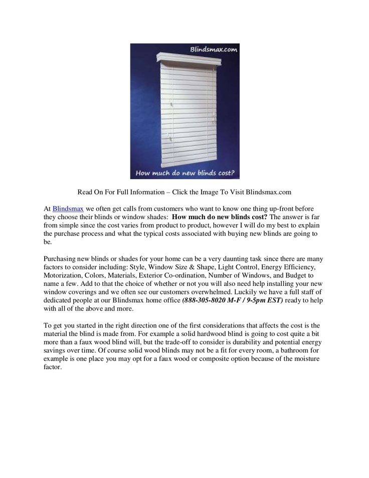 How Much Do New Blinds Cost By Internet Wholesaler Inc