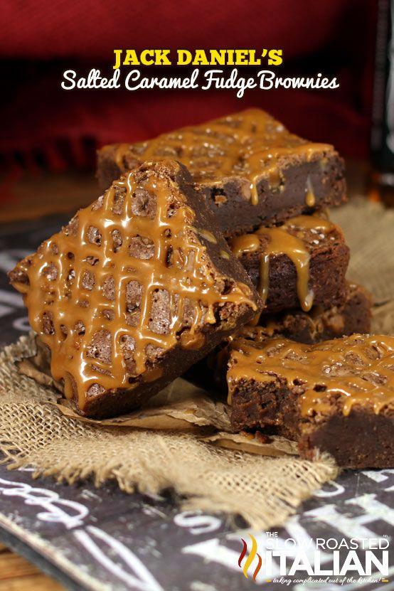 Jack Daniel's Salted Caramel Fudge Brownie from theslowroasteditalian.com #brownies #dessert #recipe