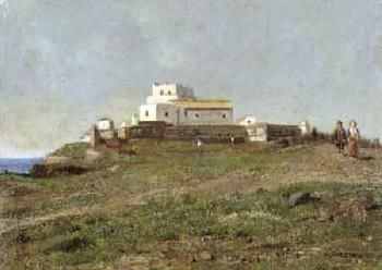 Coastal landscape with figures and houses by Giuseppe Laezza   Blouin Art Sales Index