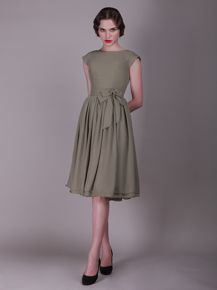 $159.99 Button Up Back Vintage Bridesmaid Dress with Cap Sleeves #bridesmaid #dresses