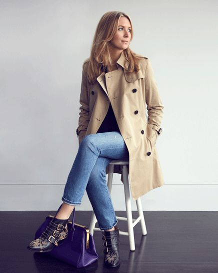 Chloe Susanna booties, simple outfit and trench