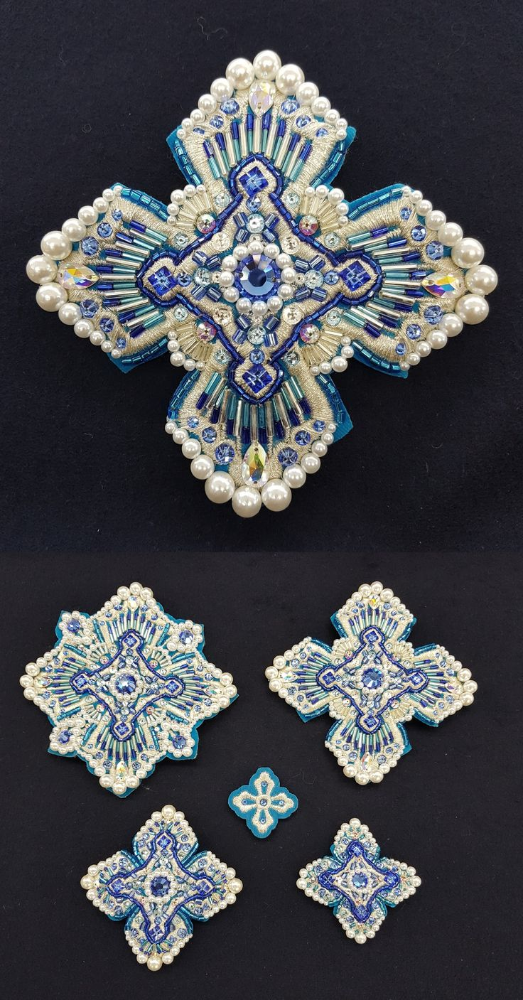 $822  A set of crosses for the episcopal vestments of blue color. A magnificent set of hand-made crosses in a single copy. Crosses are embroidered with Swarovski stones, pearls, Japanese glass beads and beads. The set consists of 21 crosses.