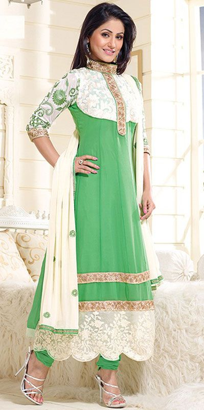 USD 27.06 Akshara Mint Green Georgette Anarkali Suit 42755