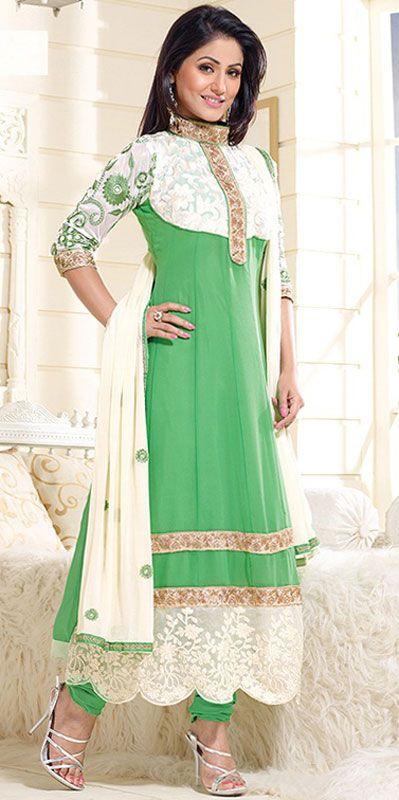 USD 27.06 Akshara Mint Green Georgette Anarkali Suit 42755