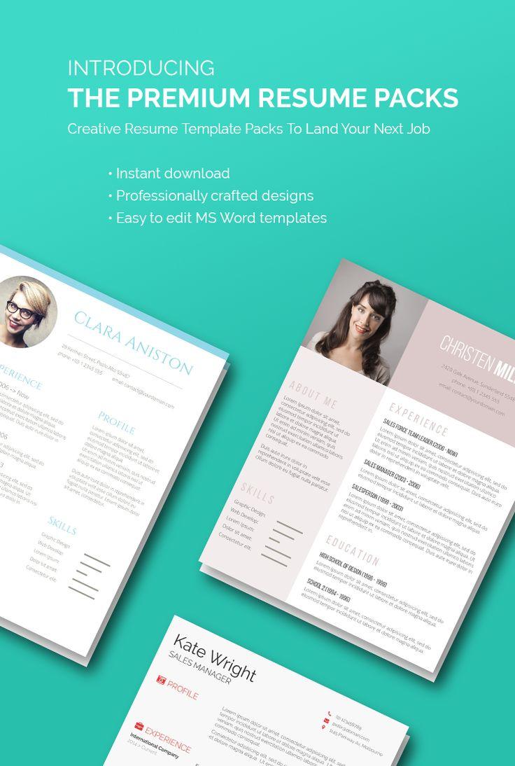 Premium Resume Template Packs Land your