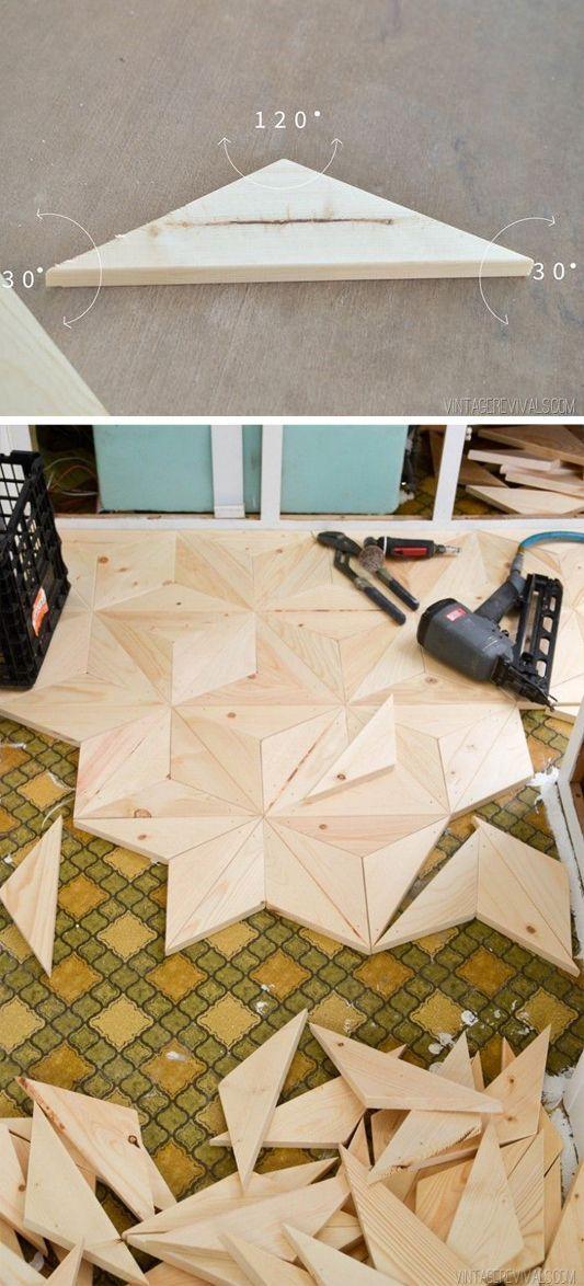 DIY Geometric Wood Flooring | DIY Vintage Camper Makeover | Vintage Trailer Makeover | Flooring Ideas | Vintage Revivals