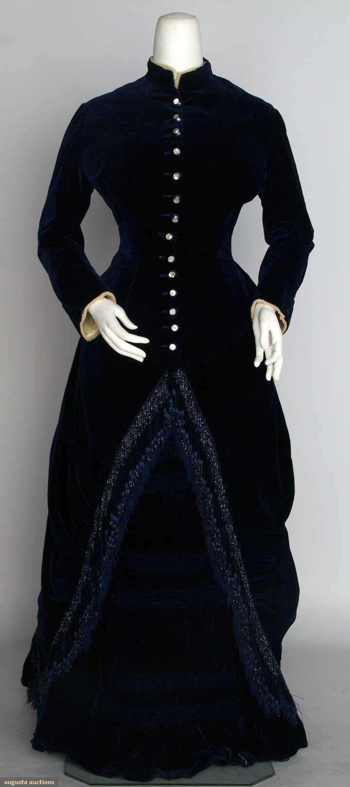 Harry bertoia for knoll inc bird chair catawiki - Navy Velvet Bustle Dress C 1882 Augusta Auctions November 13 2013